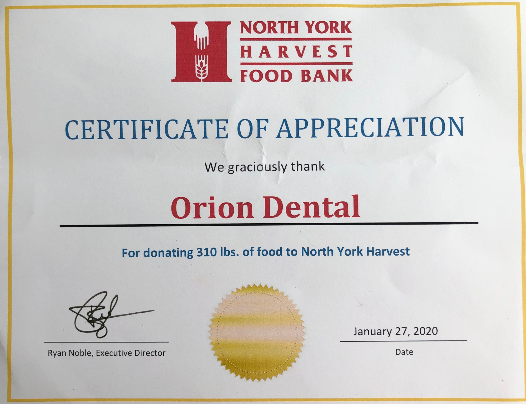 North York Food Bank Certificate to Orion Dental