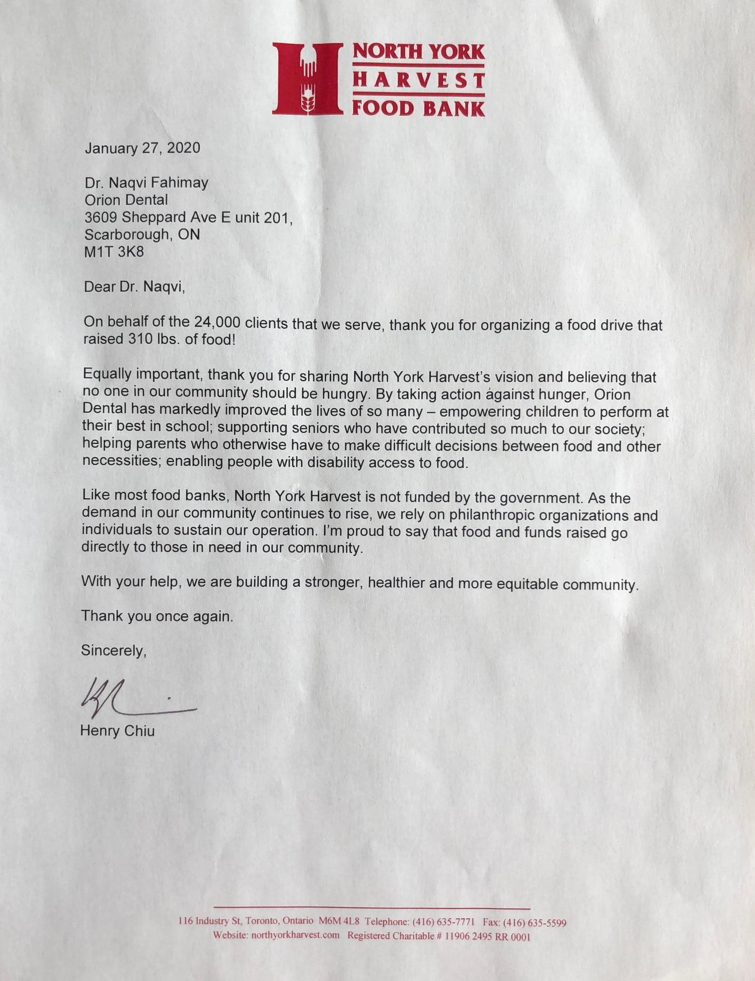 North York Food Bank Letter to Orion Dental 2019